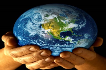 World in the hands of humans.